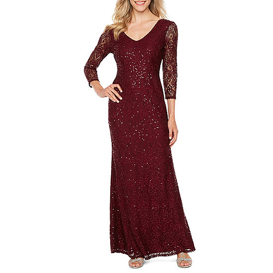 Blu Sage 3 4 Sleeve Sequin Lace Evening Gown