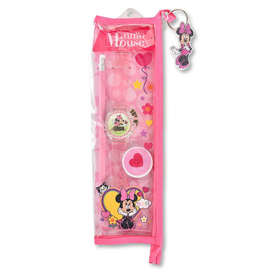 Disney Minnie Mouse Girls Pink Strap Watch-Mn40009jc