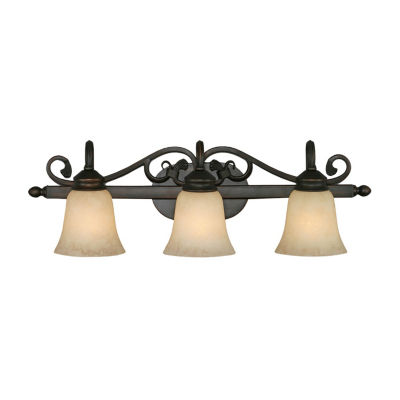Belle Meade 3-Light Bath Vanity in Rubbed Bronze with Tea Stone Glass