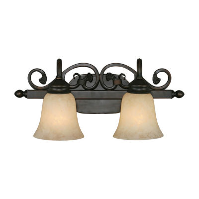 Belle Meade 2-Light Bath Vanity in Rubbed Bronze with Tea Stone Glass