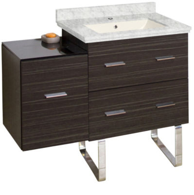 37.75-in. W Floor Mount Dawn Grey Vanity Set For 1Hole Drilling Bianca Carara Top Biscuit UM Sink