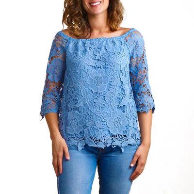 Plus Off Shoulder Crochet Blouse