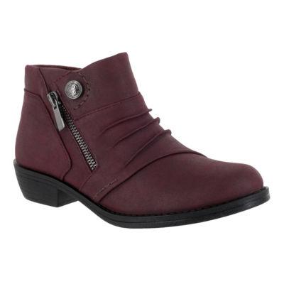 Easy Street Womens Sable Bootie Block Heel Zip