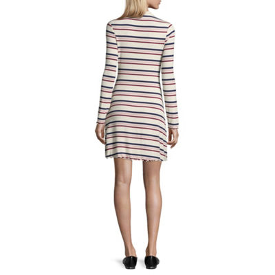 Arizona Long Sleeve Stripe Fit & Flare Dress-Juniors