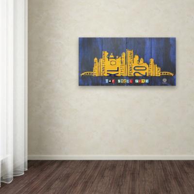 Trademark Fine Art Design Turnpike Pittsburgh Skyline Giclee Canvas Art