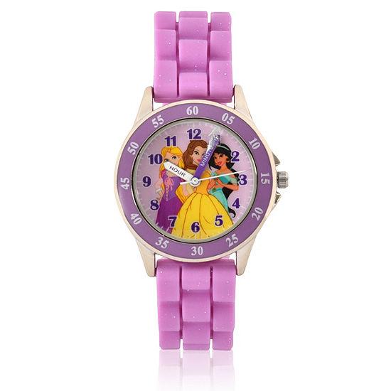 Disney Princess Girls Purple Strap Watch-Pn9023jc