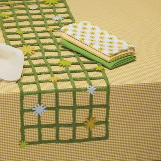 Design Imports Yellow Small Checked Tablecloth