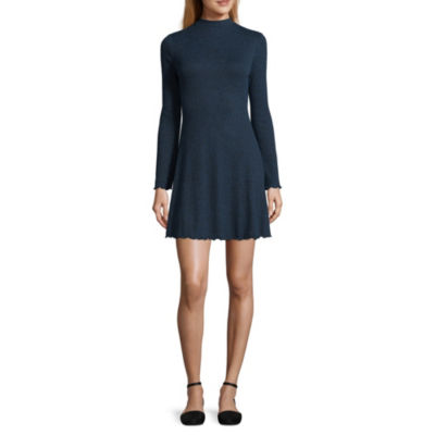 Arizona Short Sleeve Fit & Flare Dress-Juniors