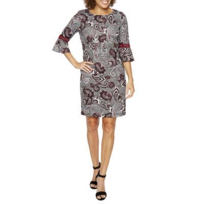 R & K Originals 3/4 Bell Sleeve Floral Plaid Shift Dress