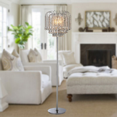 Warehouse Of Tiffany Xyrisse 4-light Crystal 58-inch Chrome Floor Lamp