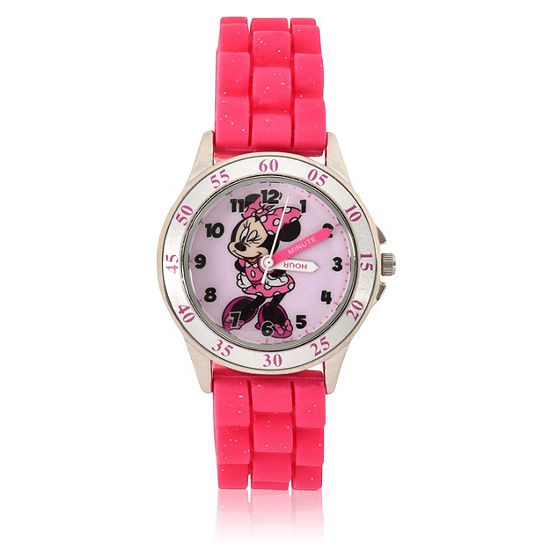 Minnie Mouse Girls Pink Strap Watch-Mnh9006jc