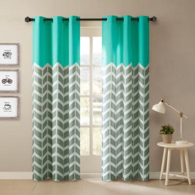 Rayna Chevron Grommet-Top Curtain Panels