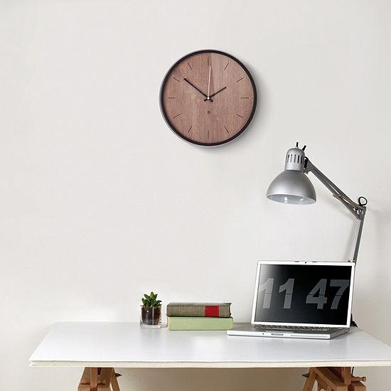 Umbra Madera Wall Clock 12.5in Black/Walnut Wall Clock