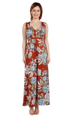 24Seven Comfort Apparel Tria Sleeveless Red FloralMaxi Dress