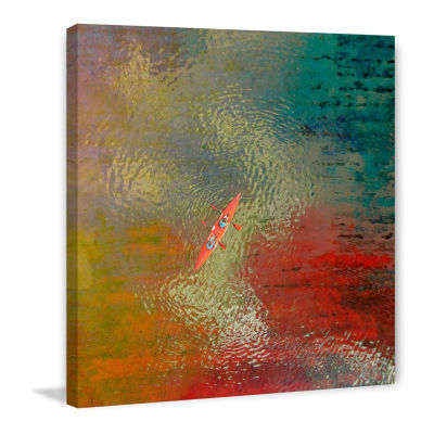 Red Kayak Painting Print on Wrapped Canvas