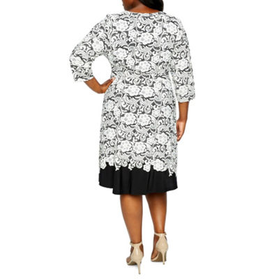 Studio 1 3/4 Sleeve Floral Fit & Flare Dress - Plus