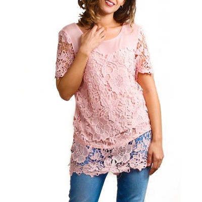 Plus Illusion Lace Crochet Lined Tunic