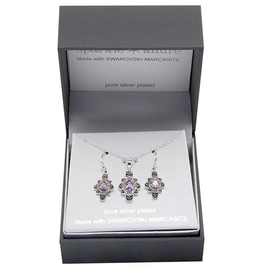 Sparkle Allure 2-pc. Pure Silver Over Brass Jewelry Set
