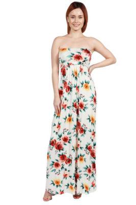 24Seven Comfort Apparel Lindsey Strapless White Floral Empire Waist Maxi Dress