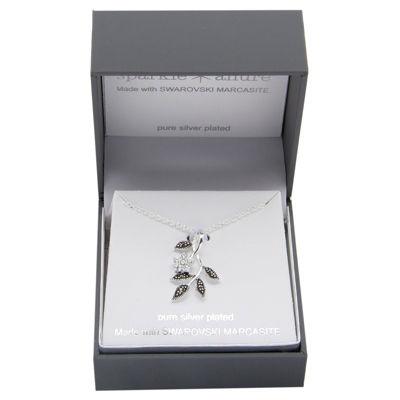 Sparkle Allure Womens Multi Color Marcasite Pure Silver Over Brass Flower Pendant Necklace