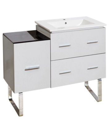33.25-in. W 18-in. D Modern Plywood-Melamine Vanity Base Set Only In White