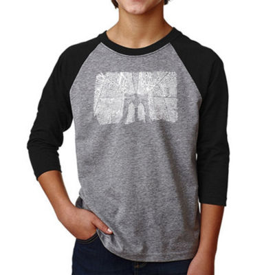 Los Angeles Pop Art Boy's Raglan Baseball Word Art T-shirt - Brooklyn Bridge