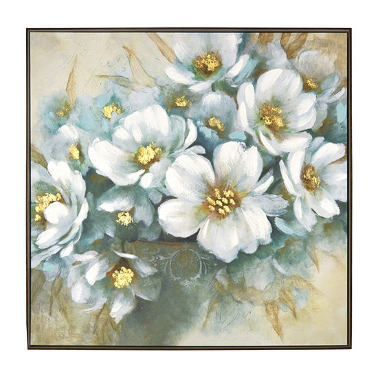 New View White Floral Framed  Embellished Canvas Canvas Art