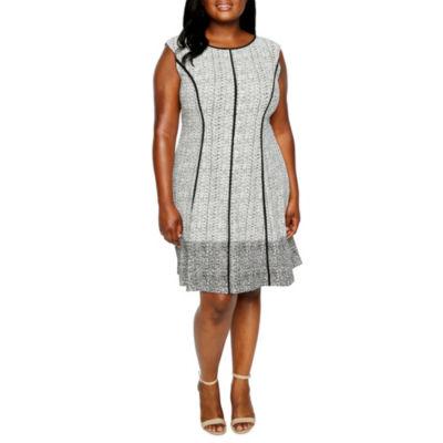 Studio 1 Sleeveless Seamed Fit & Flare Dress - Plus