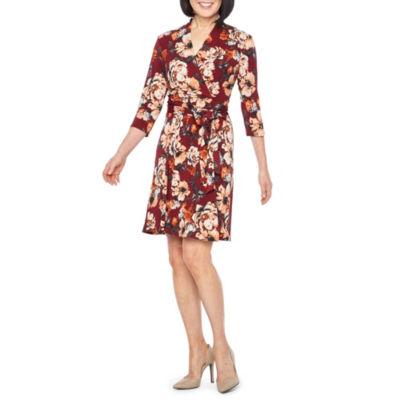 Liz Claiborne 3/4 Sleeve Floral Wrap Dress