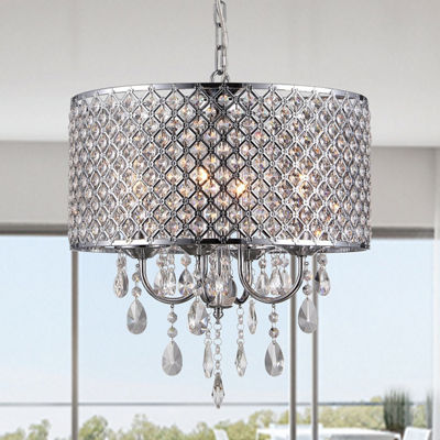 Warehouse Of Tiffany Oisetta 4 light Chrome Finish Crystal 17 Inch Round Chandelier
