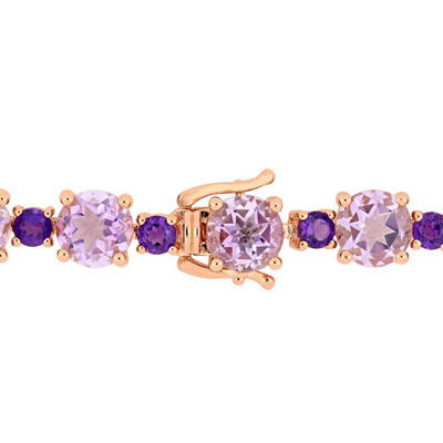 Genuine Purple Amethyst 18K Rose Gold Over Silver 7.25 Inch Tennis Bracelet