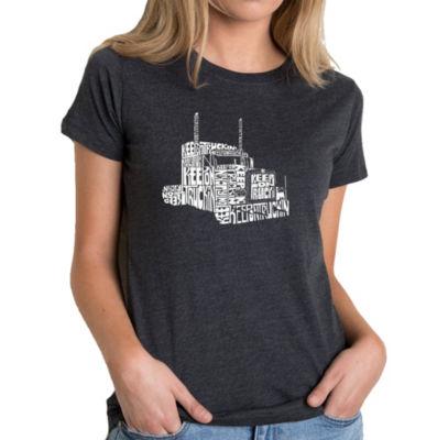 Los Angeles Pop Art Women's Premium Blend Word ArtT-shirt - KEEP ON TRUCKIN'