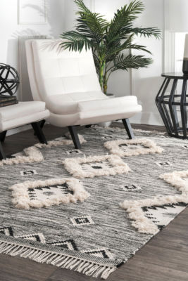 nuLoom Moroccan Textured Shaggy Wool Woven Area Rug