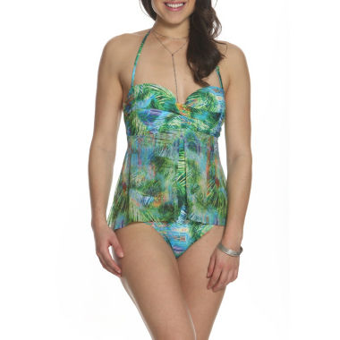 Sun and Sea Desert Palms Fly Away Mesh One Piece Swimsuit - Plus