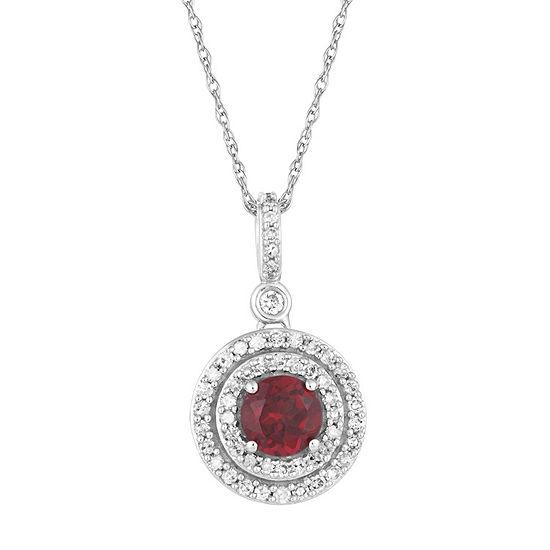 Womens 1/4 CT. T.W. Genuine Red Garnet 10K White Gold Pendant Necklace
