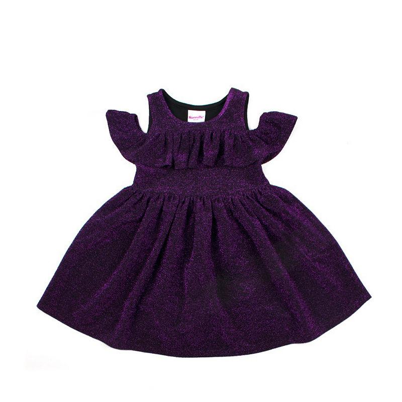 Nanette Baby Short Sleeve Skater Dress, Girls, Wine, Size 4t