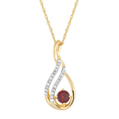 Womens Diamond Accent Genuine Red Garnet 10K Gold Pendant Necklace