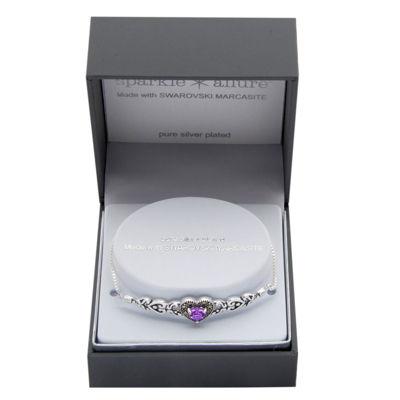 Sparkle Allure Genuine Multi Color Pure Silver Over Brass Heart Bolo Bracelet