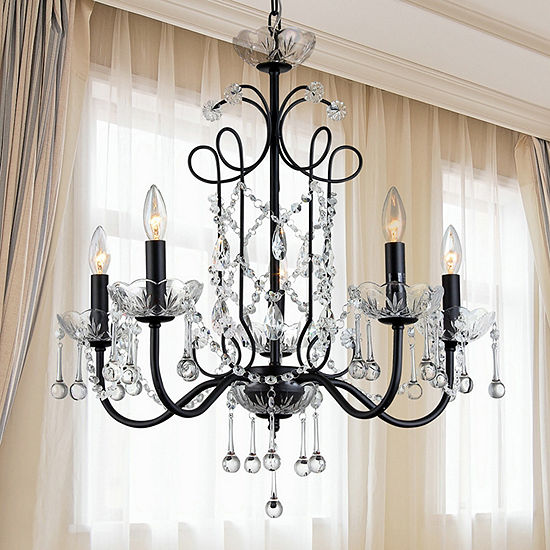 Warehouse of tiffany donna 5 light crystal 22 inchblack finish warehouse of tiffany donna 5 light crystal 22 inchblack finish chandelier aloadofball Image collections