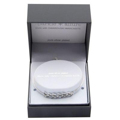 Sparkle Allure Genuine Gray Pure Silver Over Brass Bolo Bracelet