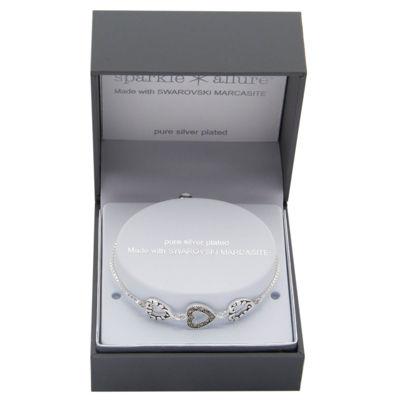 Sparkle Allure Genuine Gray Pure Silver Over Brass Heart Bolo Bracelet
