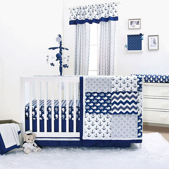 The Peanut Shell Nautical 3-pc. Crib Bedding Set