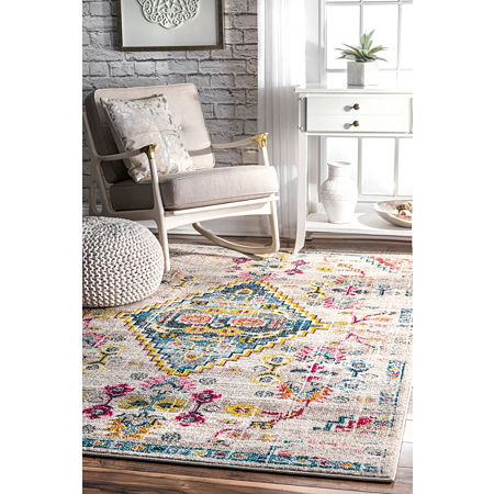 nuLoom Fading Floral Gabbeh Leahy Area Rug, One Size , White