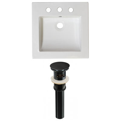 21.5-in. W 3H8-in. Ceramic Top Set In White Color- Overflow Drain Incl.