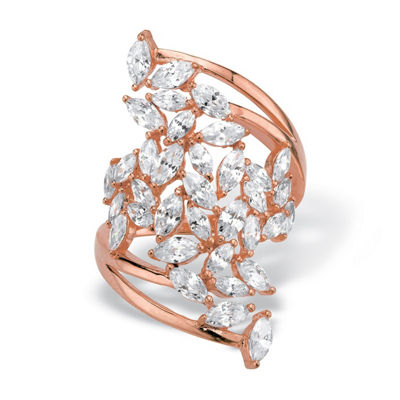 Diamonart Womens 4 1/4 CT. T.W. White Cubic Zirconia 14K Rose Gold Over Silver Cocktail Ring