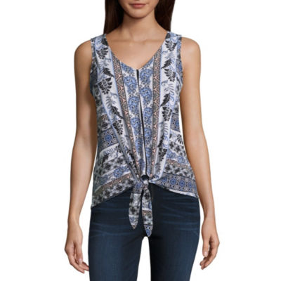 by&by Sleeveless V Neck Knit Blouse-Juniors