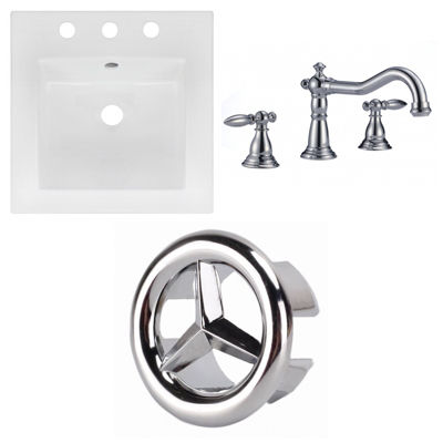 16.5-in. W 3H8-in. Ceramic Top Set In White Color- CUPC Faucet Incl.