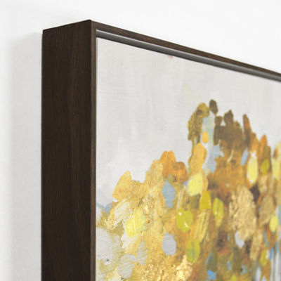 New View Golden Birch Framed Embellished Canvas Canvas Art