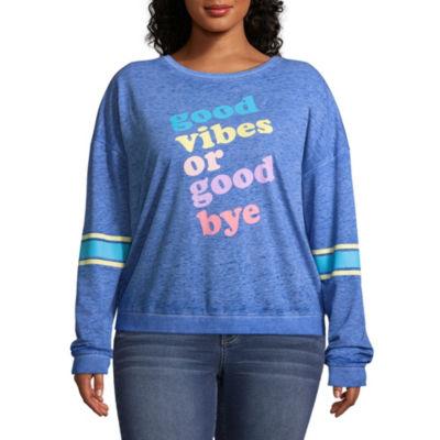 """Good Vibes or Goodbye"" Sweatshirt - Juniors Plus"