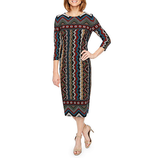 Liz Claiborne 3 4 Sleeve Sheath Dress